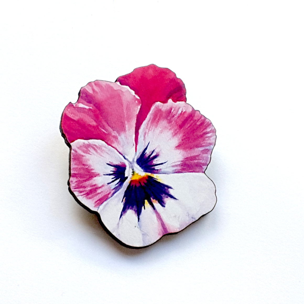 Watercolour Pansy Brooch (Pink) by Esoteric London