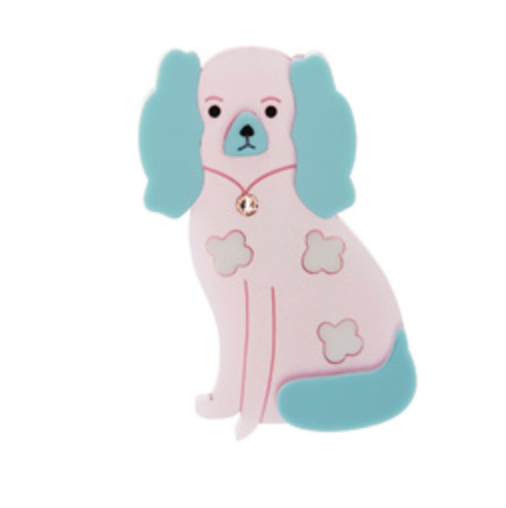 Staffordshire Dog Brooch (Pink/Aqua) by Little Moose