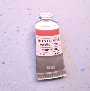 Paint Tube Brooch (Pink) by Monolama
