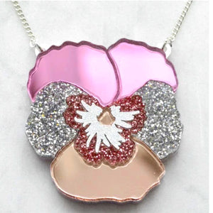 Textured Pansy Necklace (Light Pink) by Esoteric London