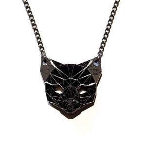 Cat Head Necklace (Pitch Black) by Sstutter
