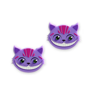 Cheshire Cat Purple Earrings by Little Moose