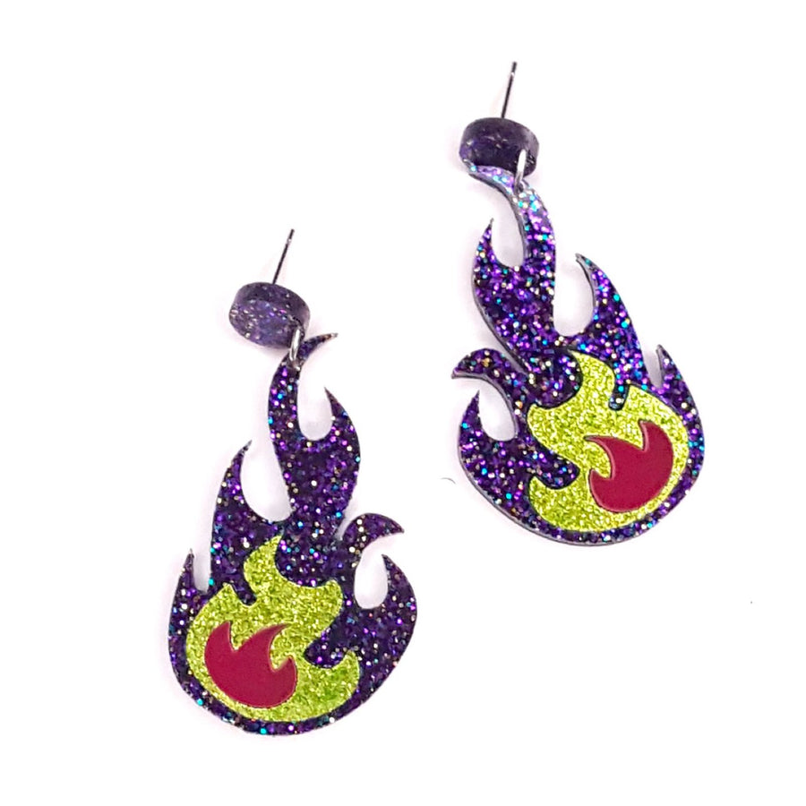 Purple/Lime/Fuchsia Flame Earrings by No Basic Bombshell