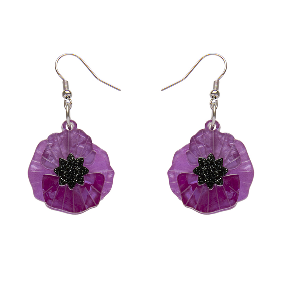 Poppy Field Drop Earrings Purple by Erstwilder