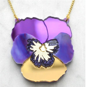 Textured Pansy Necklace (Purple) by Esoteric London