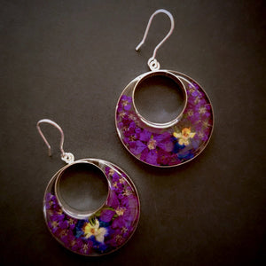 Purple Mexican Flowers Round Cut Out Hook Earrings by San Marco