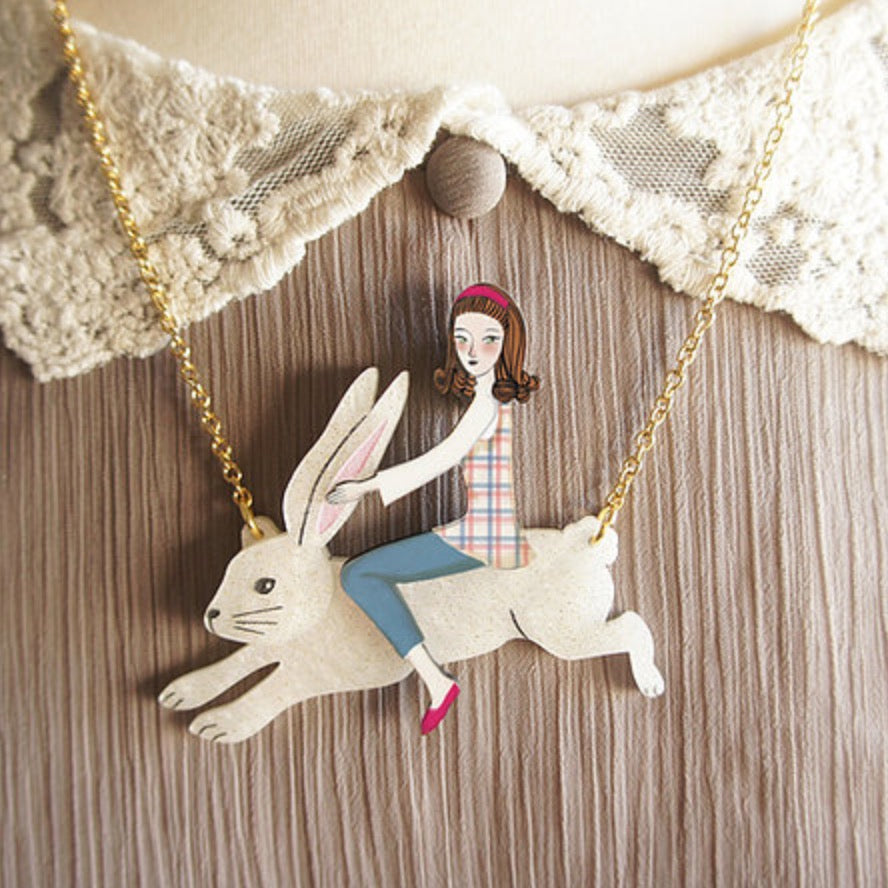 Rabbit Rider Necklace by LaliBlue