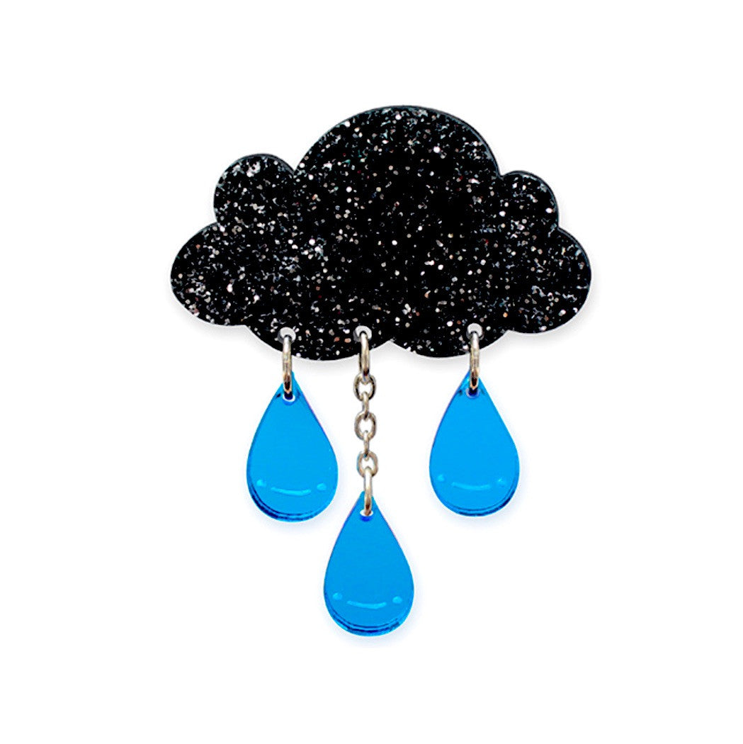 Rain Cloud Glitter Brooch by Little Moose