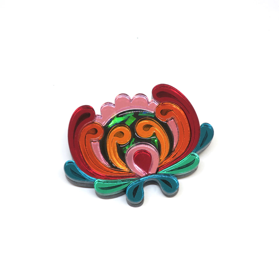 Tropical Red Flower Brooch  by Rosa Pietsch