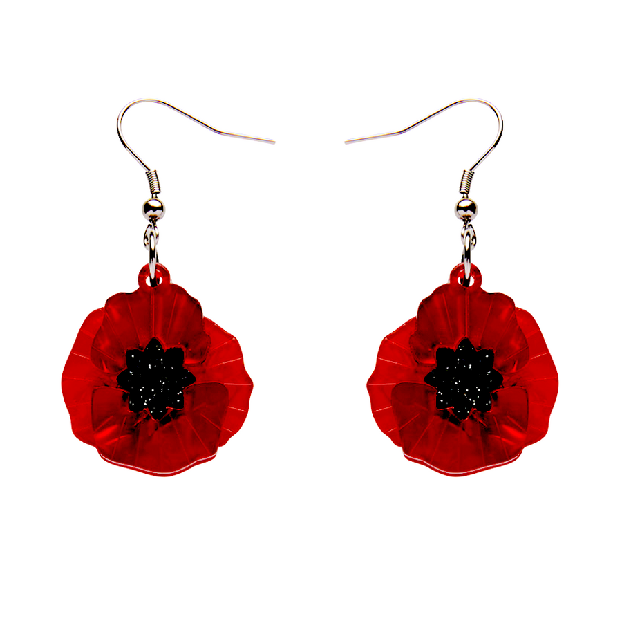 Poppy Field Drop Earrings Red by Erstwilder