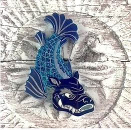 Shachihoko Brooch (Blue) by Gory Dorky