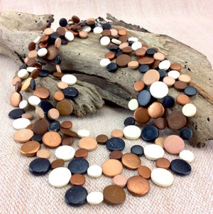 Macciato Smarties 3 Strand Coconut Shell Necklace by Cool Coconut
