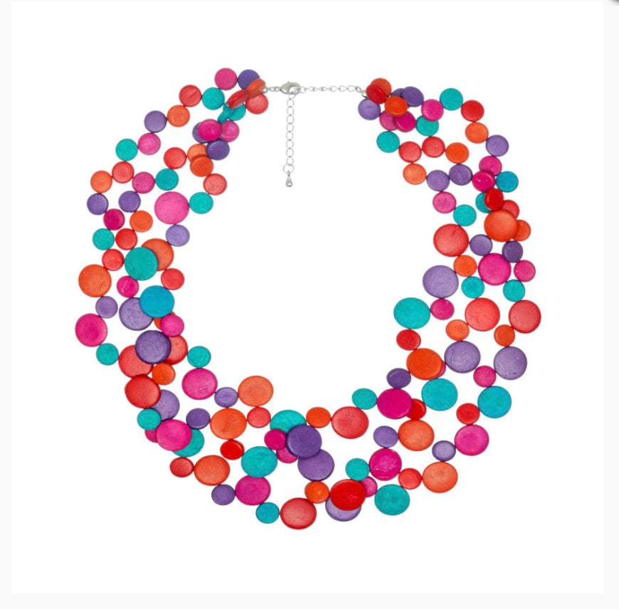 Opulence Smarties 3 Strand Coconut Shell Necklace by Cool Coconut