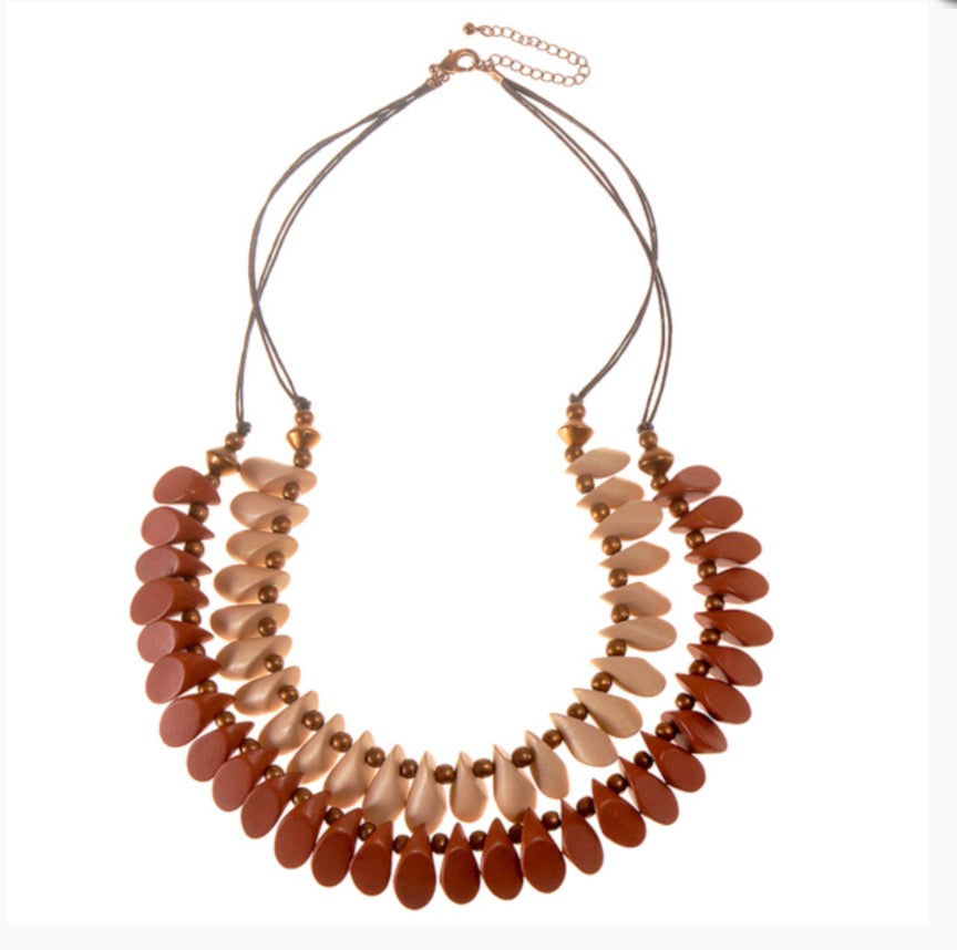 Naturals 'Mussels' Double Short Necklace by Cool Coconut