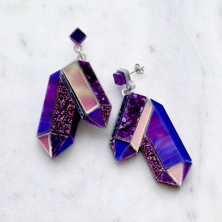 Textured Amethyst Crystal Earrings by Esoteric London