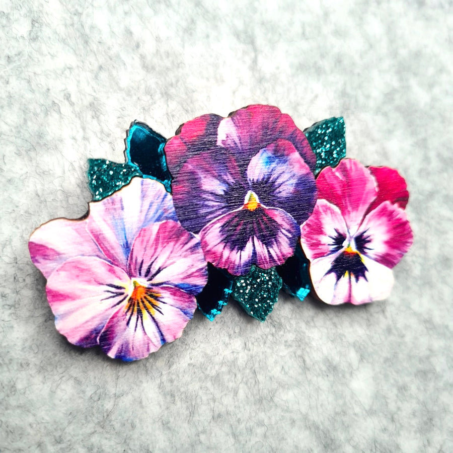 Watercolour Pansy Trio Brooch  (Large) by Esoteric London