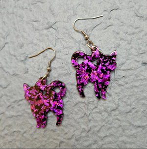 Pussy Cat Chunky Glitter Resin Drop Earrings - Purple by Erstwilder