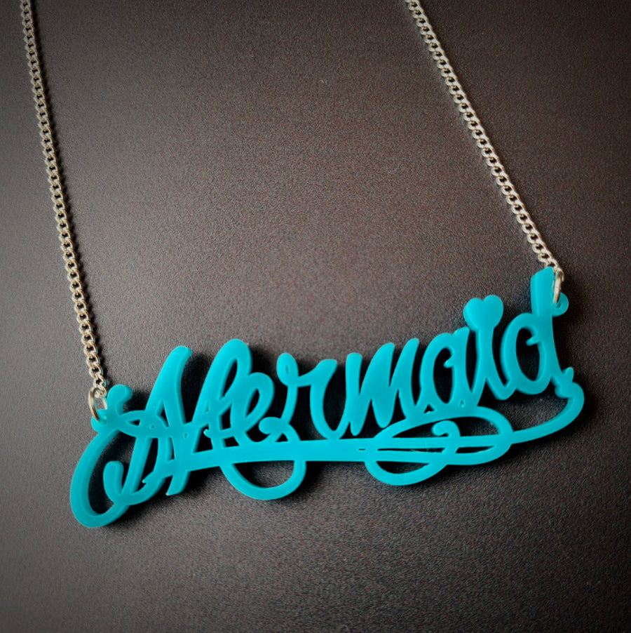 Mermaid Script Necklace by Sugar and Vice