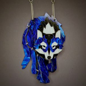 Wolf (Deep Blue) Necklace by Sstutter