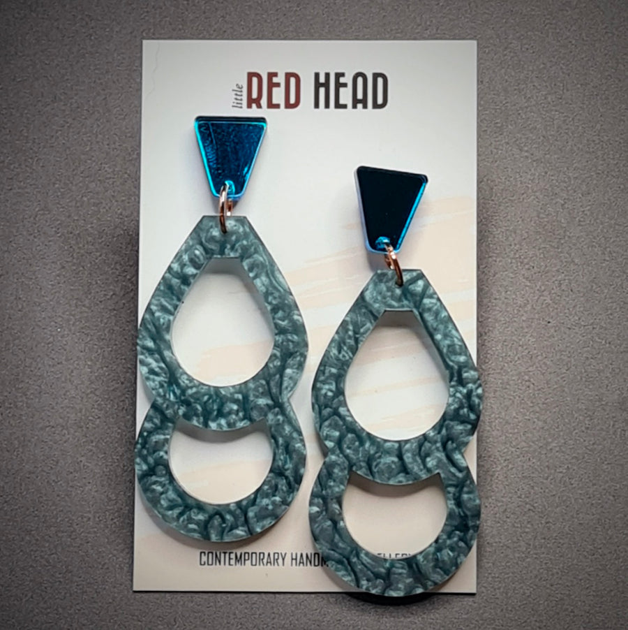 Platinum Double Drops Earrings by Little Red Head