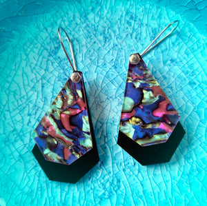 Abalone Nights Geo Drops Earrings by Little Red Head