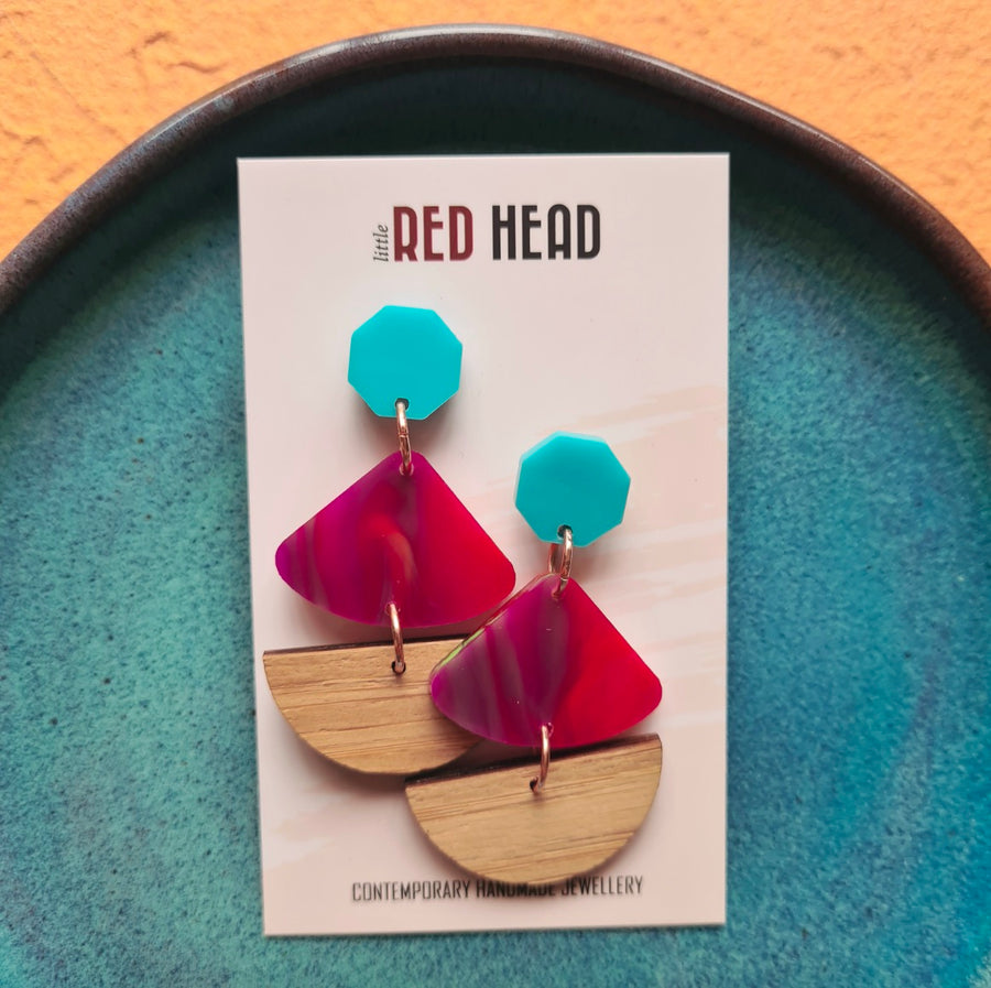 Fuchsia/Bamboo Slice Earrings by Little Red Head