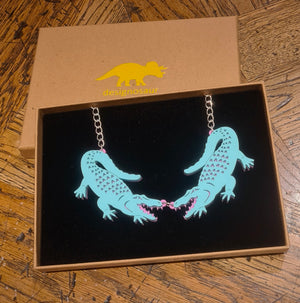 Alligator/Crocodile Pastel Statement Necklace by Designosaur