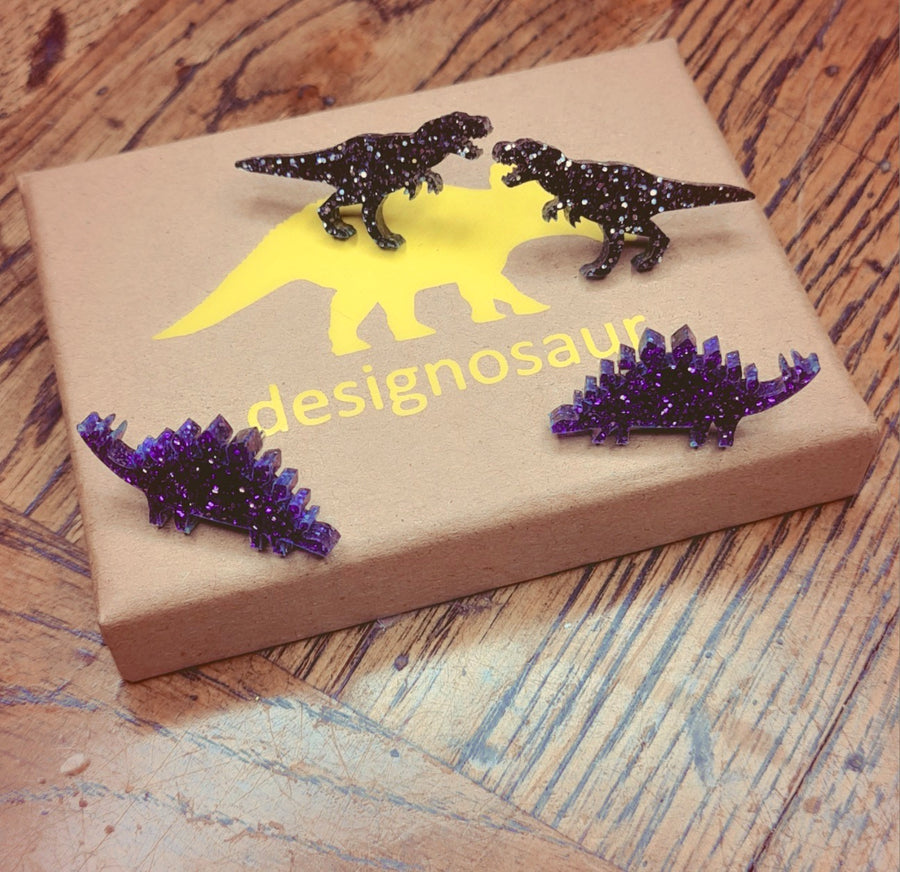 Tiny Glitter Dinosaur Studs (choose from 2 styles/colours)  by Designosaur