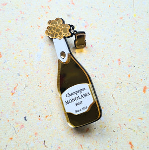 Golden Champagne Bottle Brooch by Monolama