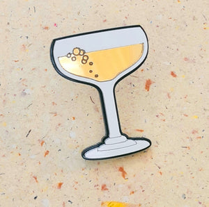 Gold Champagne Glass Brooch by Monolama