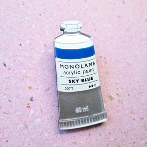 Paint Tube Brooch (Blue) by Monolama