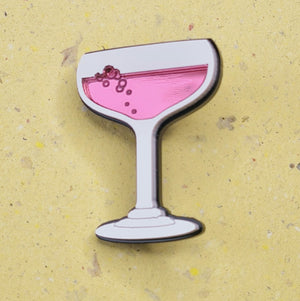 Pink Champagne Glass Brooch by Monolama