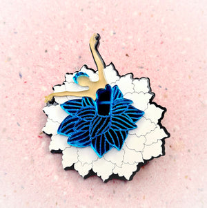 Ballerina Flower Brooch (Blue) by Monolama