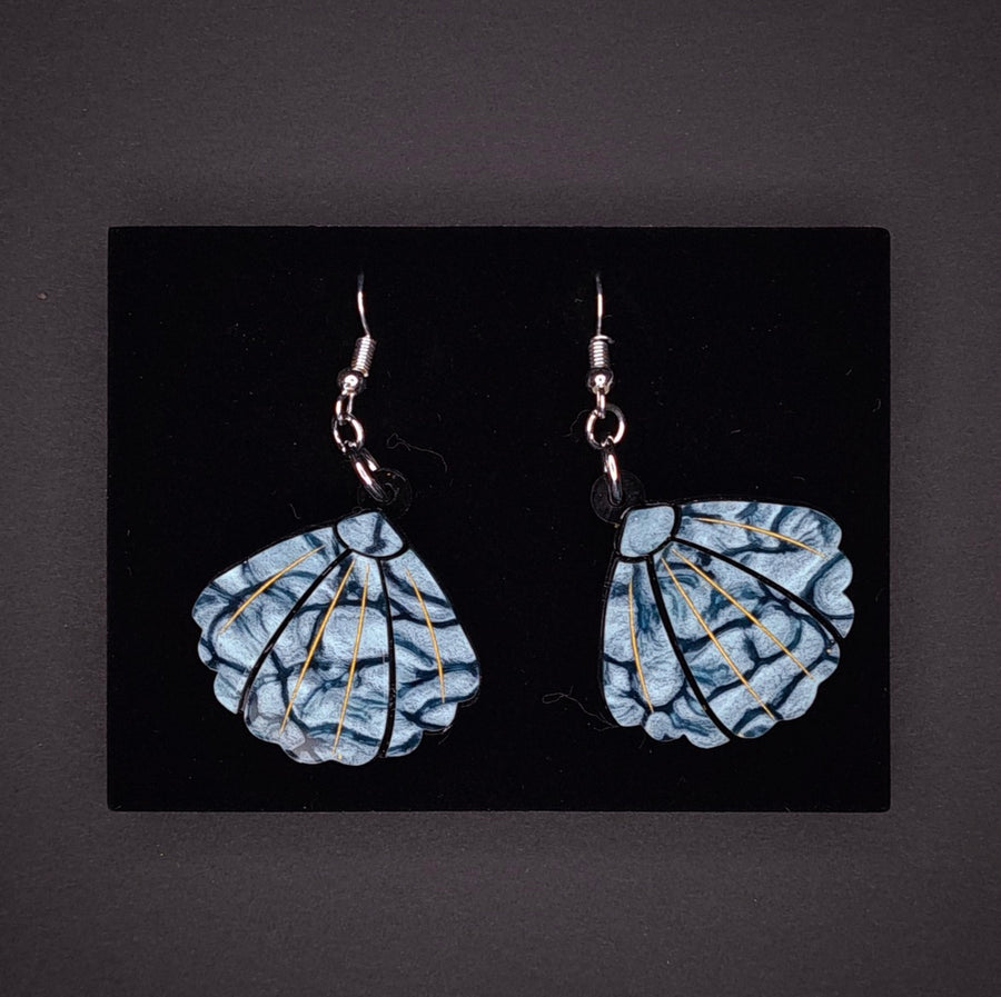 Small Blue Shell Earrings by Lou Taylor