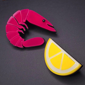 Lou Taylor x Kate's Plaice: Prawn and Lemon Brooch Set
