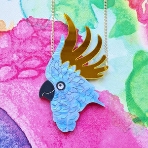 Blue/Gold Cockatoo Necklace by Designosaur