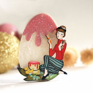 Painting the Easter Egg Brooch by LaliBlue