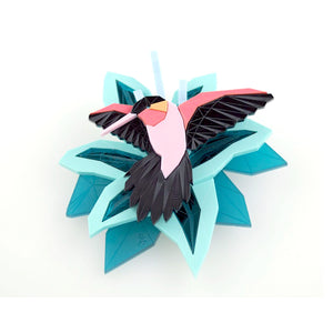 Lily and Hummingbird Brooch Set by Sstutter