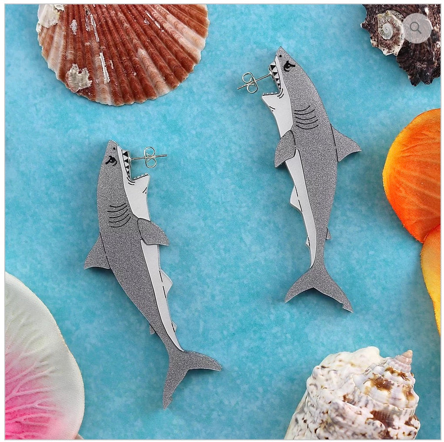 Great White Shark Earrings by Gory Dorky