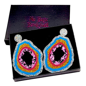Large Silver Glitter/Blue/Gold Glitter/Cerise/Pinky Black foil Geode Earrings by No Basic Bombshell
