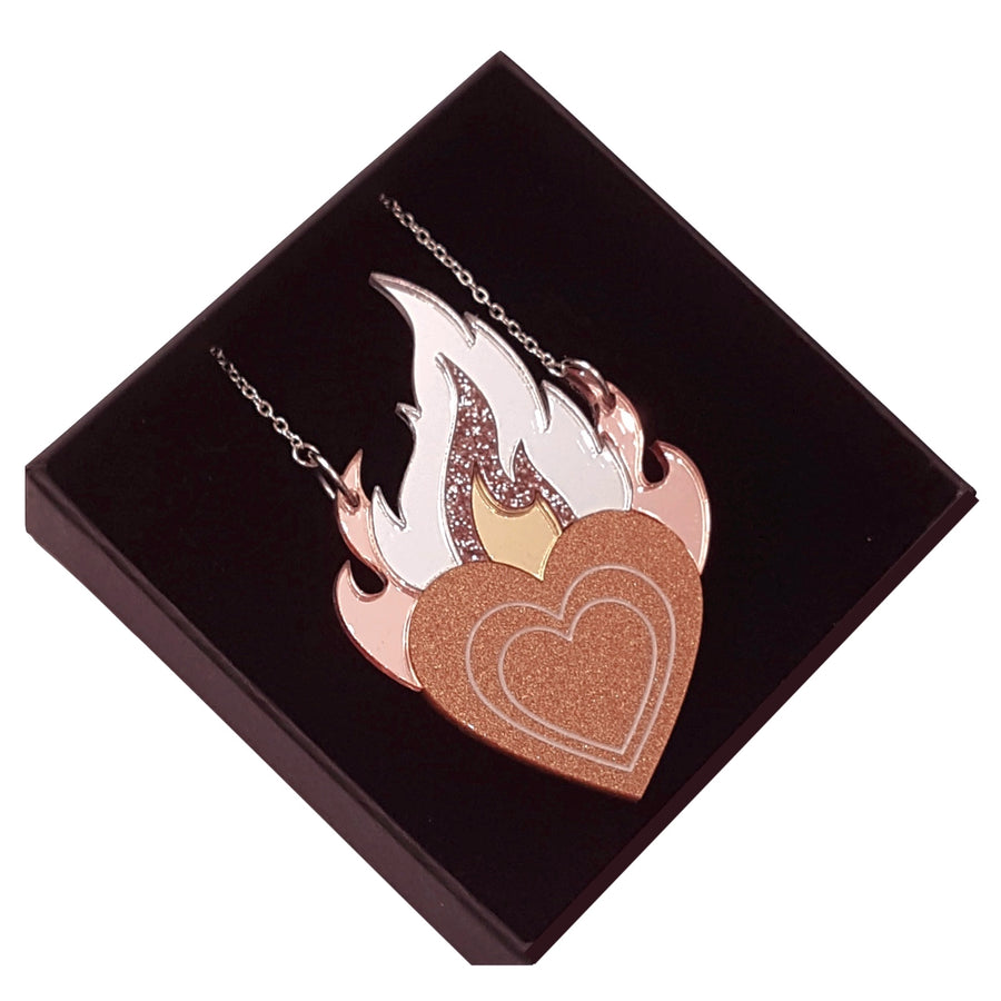 Limited Edition Flaming Heart Pendant Necklace (small) by Rosa Pietsch