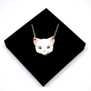 Cat Head Necklace (Snow White)  by Sstutter