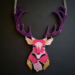Emperor Stag Necklace (Magenta Jewel)  by Sstutter