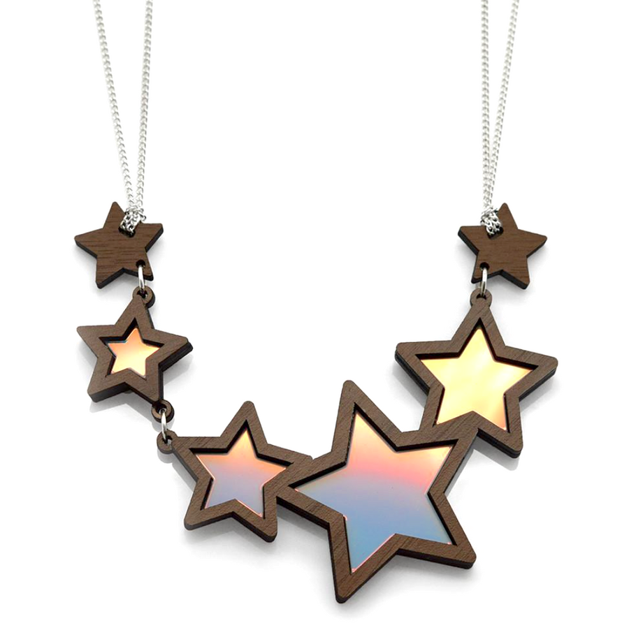 Iridescent Shooting Star Necklace by Esoteric London