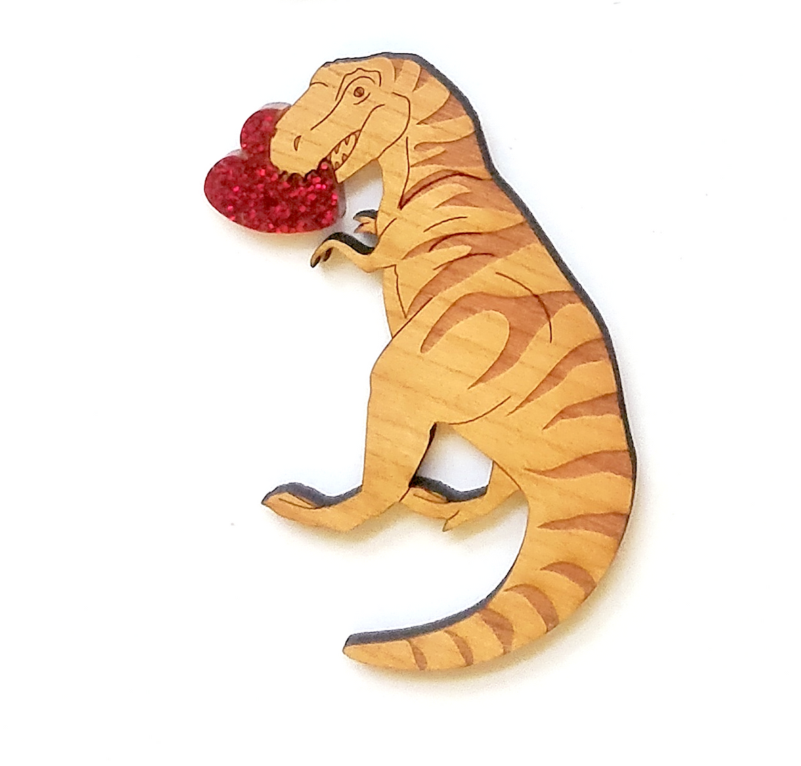 Heart Chomping T Rex Brooch by Designosaur