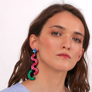 Taurus Single Dangle Earring plus Blue stud  by Monolama