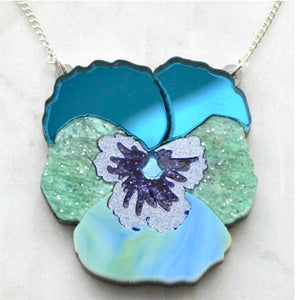 Textured Pansy Necklace (Teal) by Esoteric London