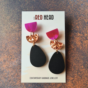 Teardrop Trios Copper Fuschia Earrings by Little Red Head