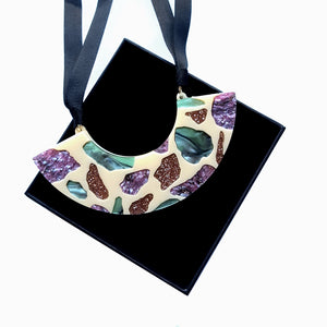 Terrazzo Curve Bib Necklace by Rosa Pietsch