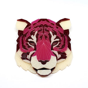 Tiger Head Brooch (CherryBomb) by Sstutter